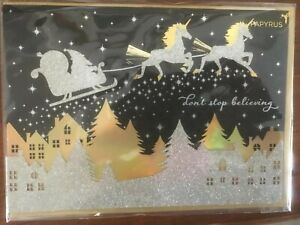 """Papyrus Christmas Card - Santa with Silver Unicorns, """"Don't Stop Believing"""""""