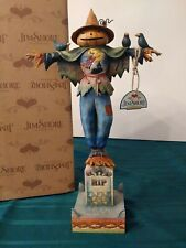 "Jim Shore Graveyard Guardian Scarecrow on Gravestone 15"" by 9"" Mint in Box"