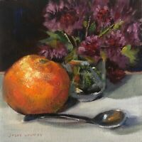 paintings,florals,orange,purple,oil, gallery wrapped,still life,spoon,colorful,