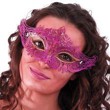 Masque loup en filigrane violet et paillettes fuchsia et or dentelle d'acier 708