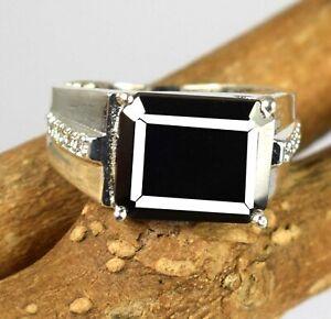 Black Diamond Solitaire 7.29 Ct  925 Silver  Men's High Value Ring
