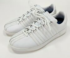 K-Swiss Classic White Leather Sneakers with Metal Lace Rings, Men's US 10.5