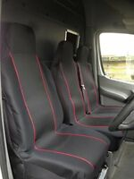 VAUXHALL MOVANO LWB - HEAVY DUTY RED TRIM VAN SEAT COVERS - SINGLE + DOUBLE