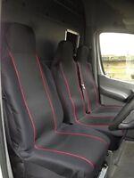 VW TRANSPORTER T5 - HEAVY DUTY RED TRIM VAN SEAT COVERS - SINGLE + DOUBLE