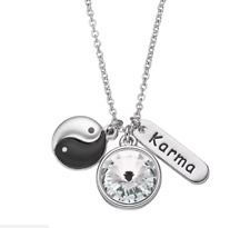 KARMA YIN YANG KARMA NECKLACE PENDANTS BELIEVE IN KARMA WITH SWAROVSKI CRYSTAL