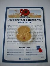 2011 GOLD PLATED POPPY 'FLANDERS FIELD' £5 FIVE POUND COIN GUERNSEY