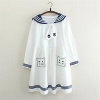 Japanese Lolita Bowknot Dress Cute Cat Print Sailor Collar Long Sleeve Dress