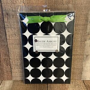 NEW Maude Asbury Polka Dot Design Magnetic Bulletin Memory Board Black & Cream