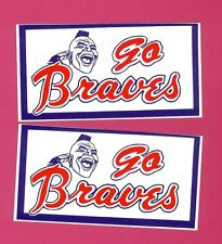 "2 Vintage ATLANTA BRAVES ""GO BRAVES"" Bumper Stickers NOS 80's Unused,Unpeeled"