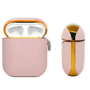 Apple AirPods Genuine Leather Case Pink Luxury Shockproof Cover - Mauve