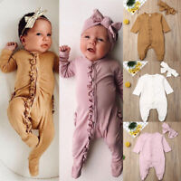 Autumn Newborn Infant Baby Girl Clothes Romper Ruffle Bodysuit Outfit Set US