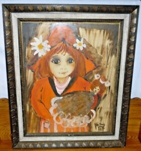 Vintage Mixed Media Acrylic Painting & Newspaper Portrait Of Girl w/ Doll - 1965
