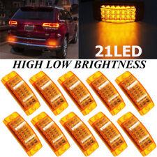10 x Amber 21 LED Side Marker Clearance Light Rectangle 12V Truck Trailer Camper