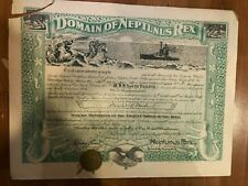 Nicely Illustrated 1921 Uss North Dakota Domain of Neptunus Rex Certificate