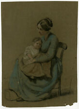 Antique Drawing-GENRE-MOTHER AND CHILD-STUDY-Anonymous-ca. 1850