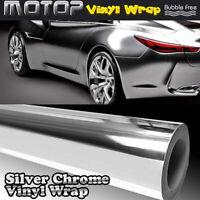 "6*60"" Silver Chrome Mirror Film Wrap Car Vinyl Stickers Decal Sheet Bubble Free"