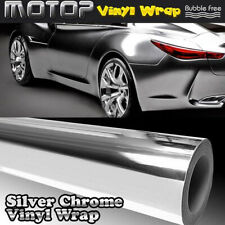 "6*60"" Silver Chrome Mirror Film Wrap Car Vinyl Stickers Decal Sheet Bubble Free"