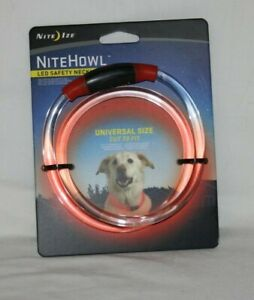 NiteHowl LED Safety Necklace for Pets Lighted Collar RED