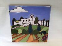 Sterling Vineyards, California Triton Ceramic Tile Hot Plate Trivet Hand Painted