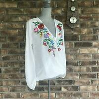 UMGEE BOHO FLORAL EMBROIDERY SHEER SURPLICE TOP