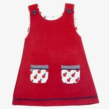 Powell Craft Handmade Red Cord Pinafore Dress - Cotton Age 1-2 BNWT Spare Button