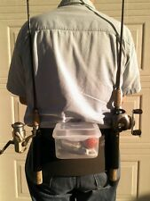 Double back pack Fishing rod / pole holder with tackle / bait box