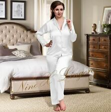 Nine X Womens Plus Size Lingerie S-6xl Satin Pyjamas Long Sleeve Nightwear Pj's 12 White