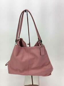 Coach Pink Pebbled Leather Carryall Shoulder Bag