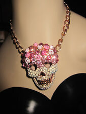 Betsey Johnson LARGE SKULLS AND ROSES PINK PAVE SKULL STATEMENT NECKLACE