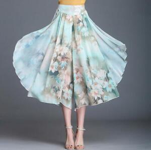 Ladies Wide Leg Floral Loose Pants Breathable Capri Baggy Trousers Pleated Pants