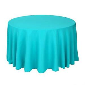"""10 Round 120"""" Polyester Tablecloths 5ft Table Cover High Quality Made in USA"""