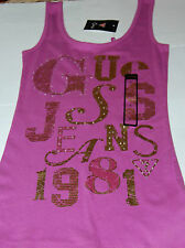 "NWT Guess Juniors ""Kalypso"" Purple-Gold Foil-Rhinestones Tank Top, Extra Large"