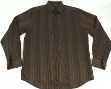 Equilibrio Italia Brown Green Striped Button Down Lg Sleeve Dress Shirt Mens M