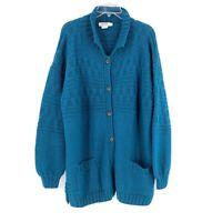 Vintage Calvin Klein Classifications Cardigan Cable Knit Handknit Medium Wool