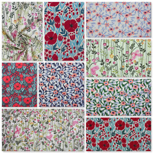 Floral Spring Summer Polycotton Material Fabric Poppies Poppy Wild Flowers