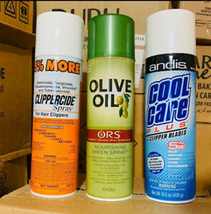 Andis cool care plus,ORS sheen spray and CLIPPERCIDE sprays all on one listing