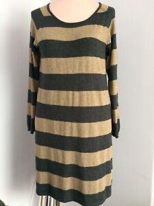 M&S Woman gold mix stripe knitted dress UK16 *VGC**