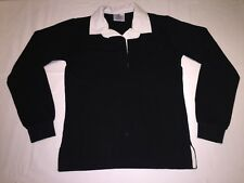 Front Row Womens Ladies Rugby Shirt for Leisure Plain Traditional Cotton Black XS