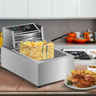 Electric Deep Fryer Stainless Steel Restaurant Home 2500W 6L/6.3QT Countertop photo