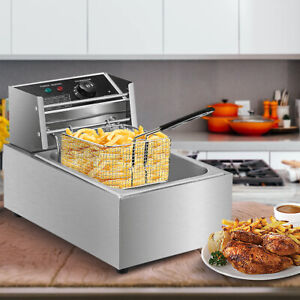 Electric Deep Fryer Stainless Steel Restaurant Home 2500W 6L/6.3QT Countertop