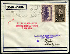 LIBAN - 1ère Liaison Aéropostale Directe BEYROUTH/BERLIN via VARSOVIE 2/JUIN/39
