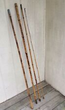 "Antique Vintage 4 Piece 13' 8"" Bamboo Cane Fishing Pole Rod W Brass Ferrules"