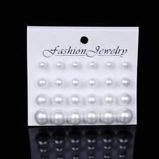 12 x Pares de Aretes de Mujer Aro de Chica Perlas Pantalla Zarcillo Femenino
