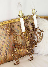 Italian Tole Pair Gilt Wall Sconces