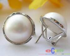 p1706 REAL 20MM WHITE SOUTH SEA MABE PEARL EARRING SILVER