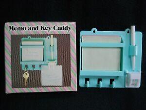 Vintage Wang's H & F Retro Memo & Key Caddy / Green Plastic / Mountable / NEW