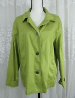 Women Chico's XL 3 Green V-neck Metal Button Down Long Sleeve Stretch Blouse Top