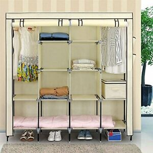 "67"" Clothe Closet Portable Wardrobe Clothes Storage Rack 12 Shelves 4 Side Beige"