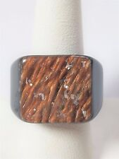 Brown Lucite with Light Brown Abstract front with tiny metals Ring Vintage Clunk