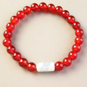 "Red Agate Round White Druzy Geode Agate Column Stretchy Bracelet 7.5"" J69151"